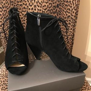 Vince Camuto Lace Up Peep Toe Suede Booties